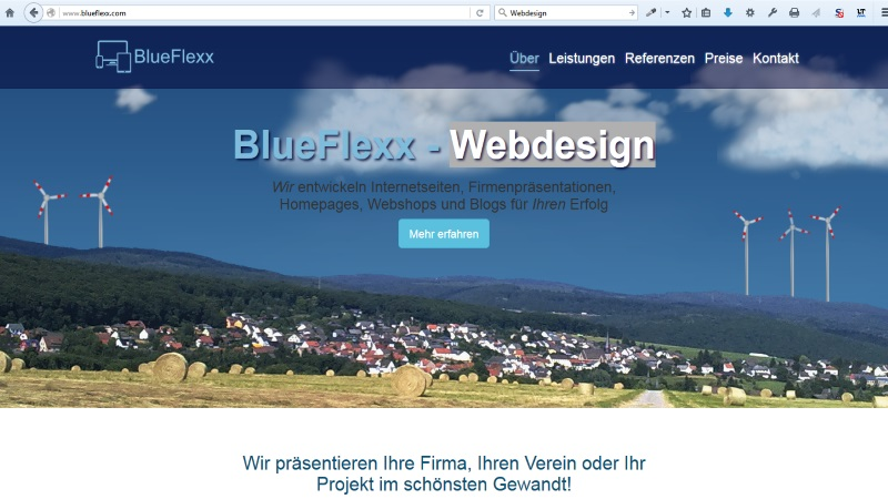 Homepage Blueflexx - Webdesign